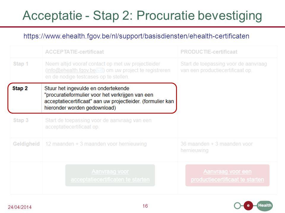 Acceptatie - Stap 2: Procuratie bevestiging