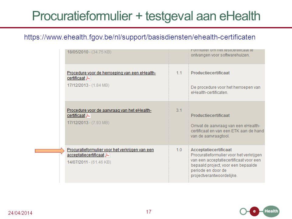 Procuratieformulier + testgeval aan eHealth