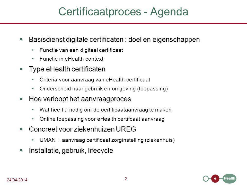 Certificaatproces - Agenda