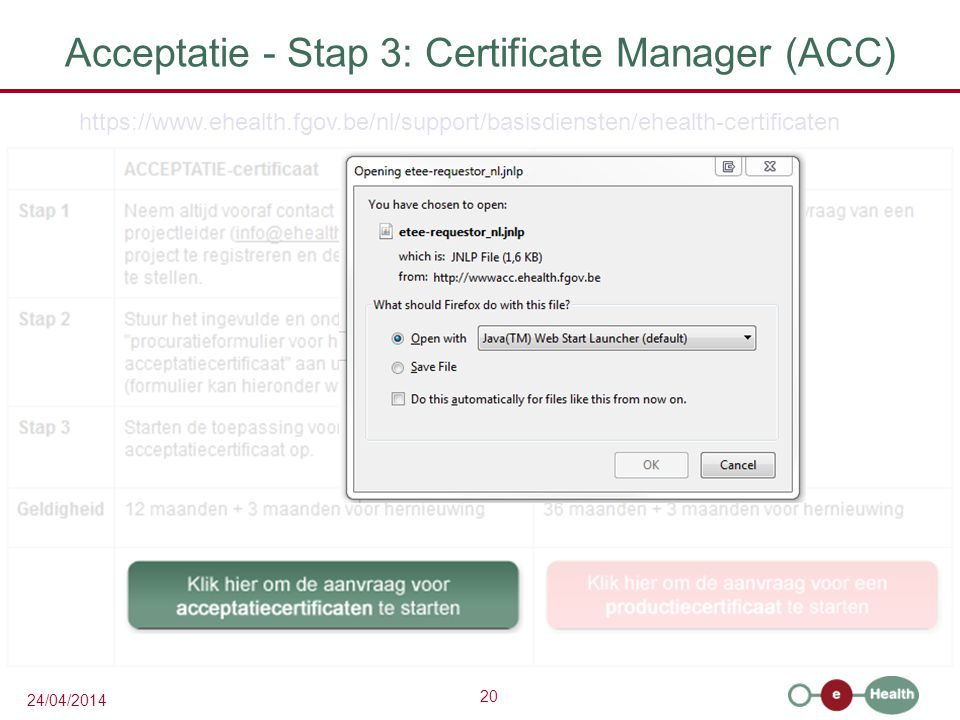 Acceptatie - Stap 3: Certificate Manager (ACC)
