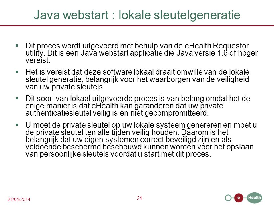 Java webstart : lokale sleutelgeneratie
