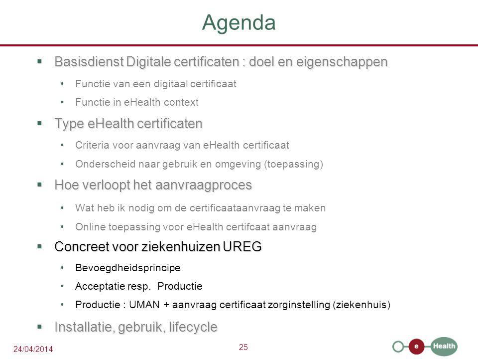 Agenda Basisdienst Digitale certificaten : doel en eigenschappen