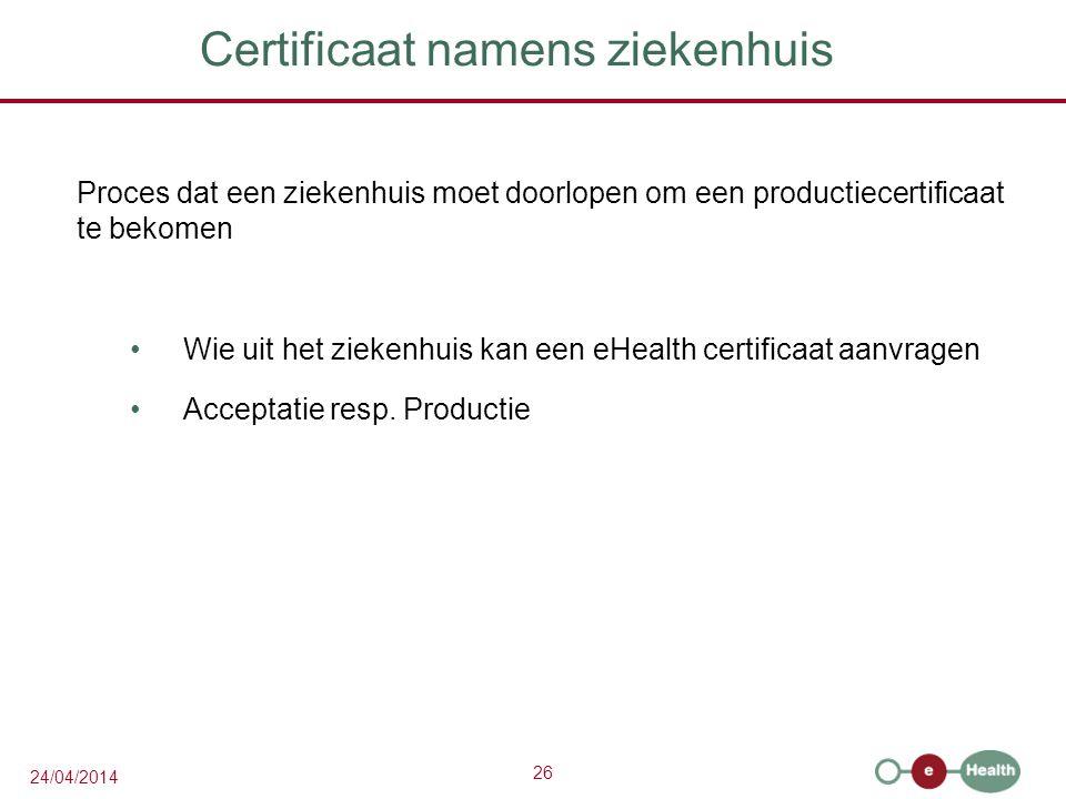 Certificaat namens ziekenhuis
