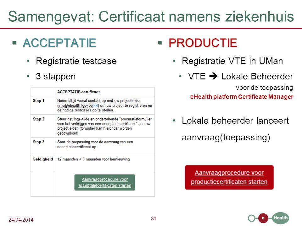Samengevat: Certificaat namens ziekenhuis