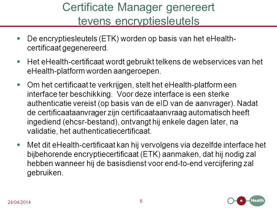 Certificate Manager genereert tevens encryptiesleutels