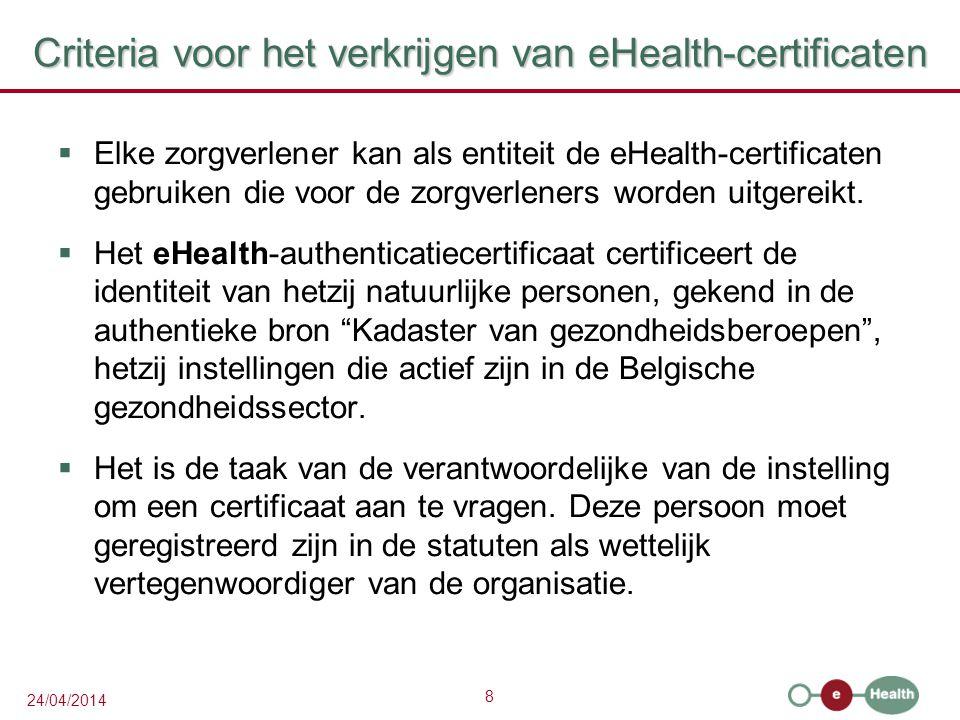 Criteria voor het verkrijgen van eHealth-certificaten