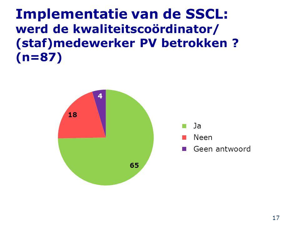 Implementatie van de SSCL: werd de kwaliteitscoördinator/ (staf)medewerker PV betrokken (n=87)
