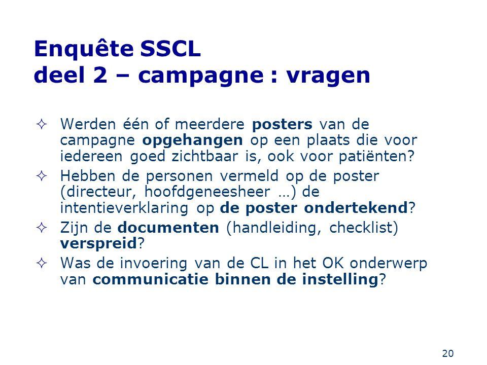 Enquête SSCL deel 2 – campagne : vragen