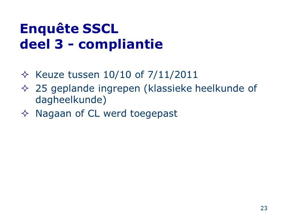 Enquête SSCL deel 3 - compliantie