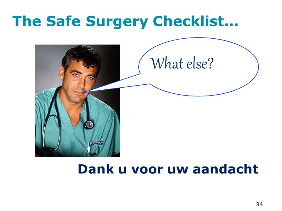 The Safe Surgery Checklist…