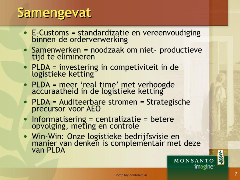 Samengevat E-Customs = standardizatie en vereenvoudiging binnen de orderverwerking. Samenwerken = noodzaak om niet- productieve tijd te elimineren.