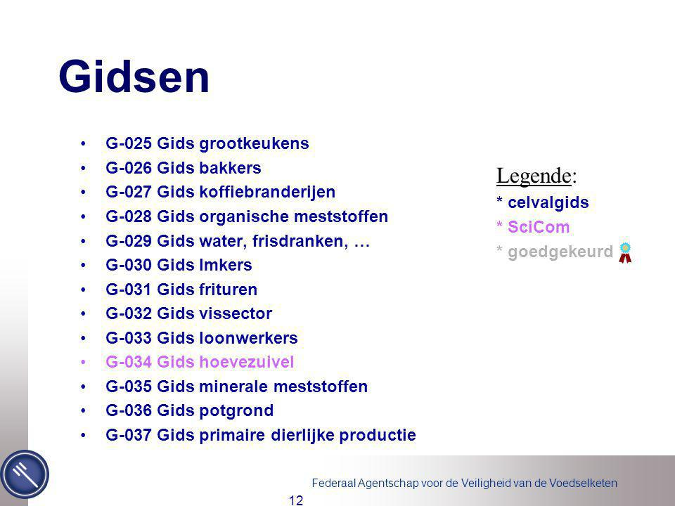 Gidsen Legende: G-025 Gids grootkeukens G-026 Gids bakkers