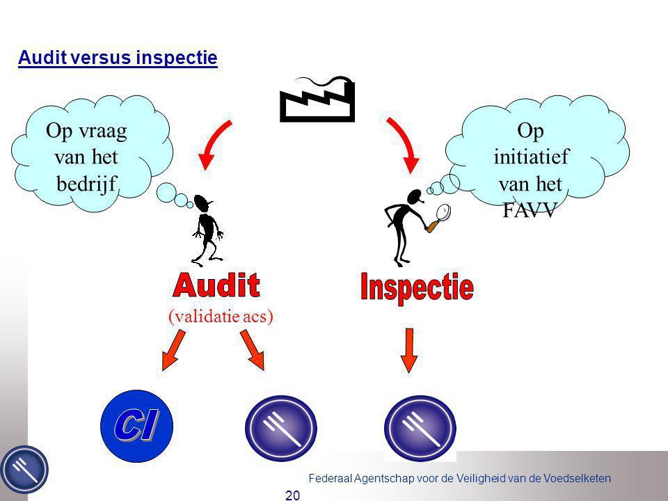 Audit Inspectie CI Op vraag van het bedrijf Op initiatief van het FAVV