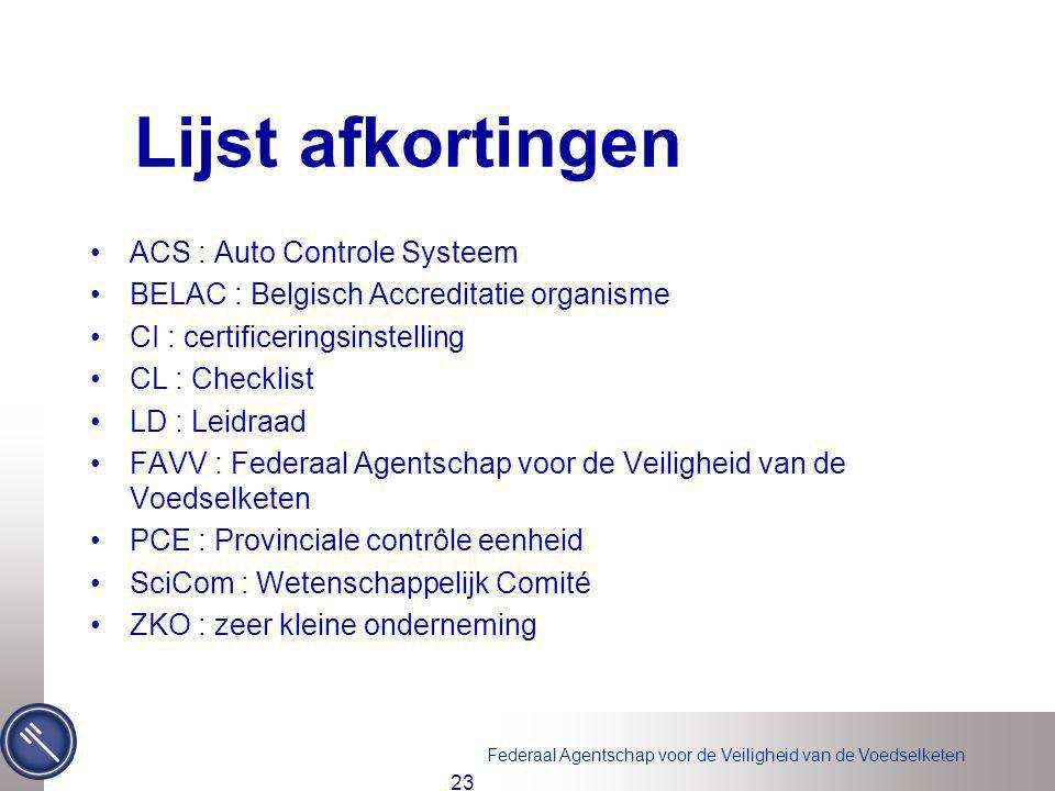 Lijst afkortingen ACS : Auto Controle Systeem