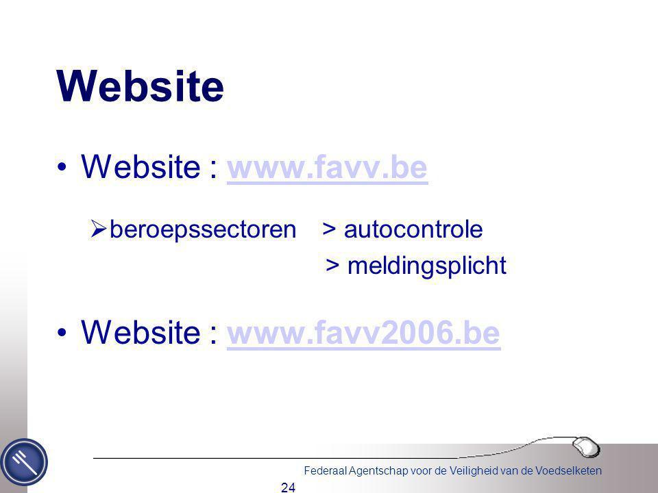 Website Website : www.favv.be Website : www.favv2006.be