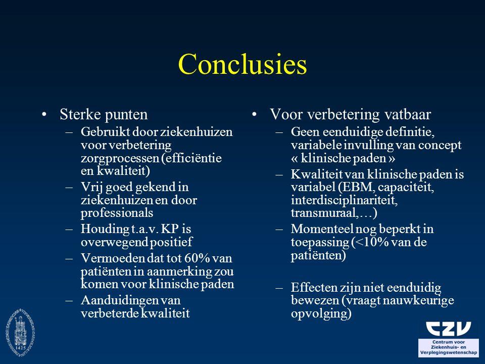 Conclusies Sterke punten Voor verbetering vatbaar