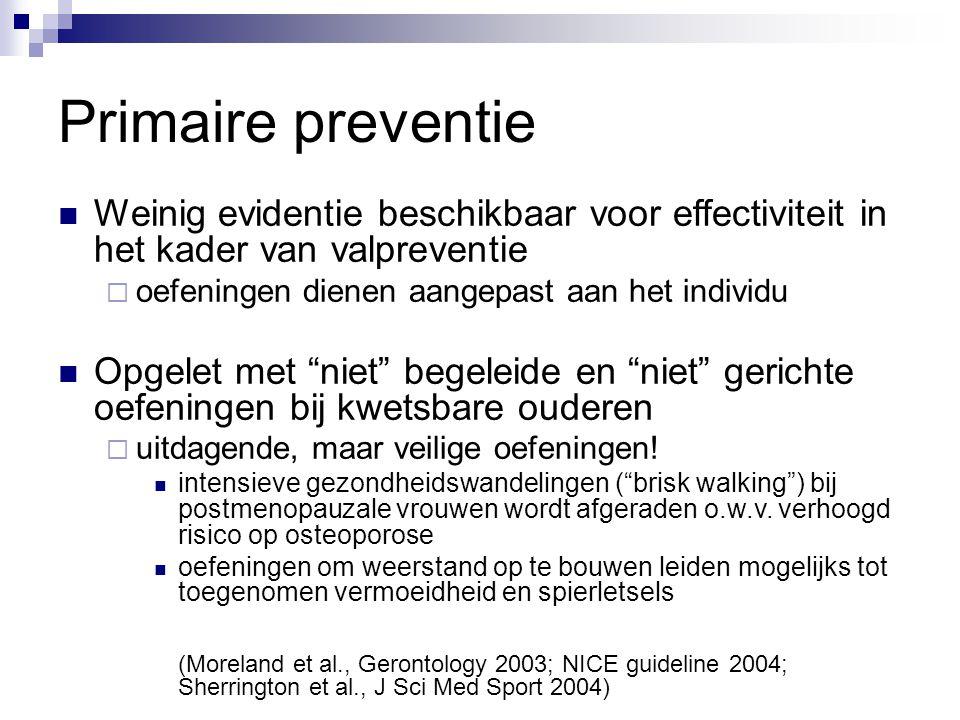 Primaire preventie Weinig evidentie beschikbaar voor effectiviteit in het kader van valpreventie. oefeningen dienen aangepast aan het individu.