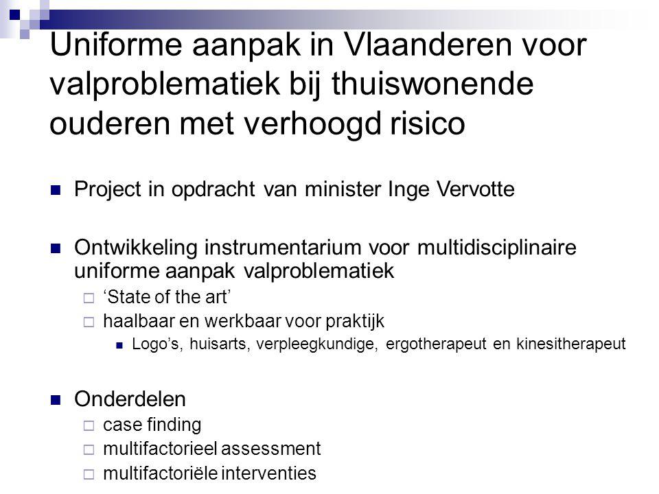 Uniforme aanpak in Vlaanderen voor valproblematiek bij thuiswonende ouderen met verhoogd risico