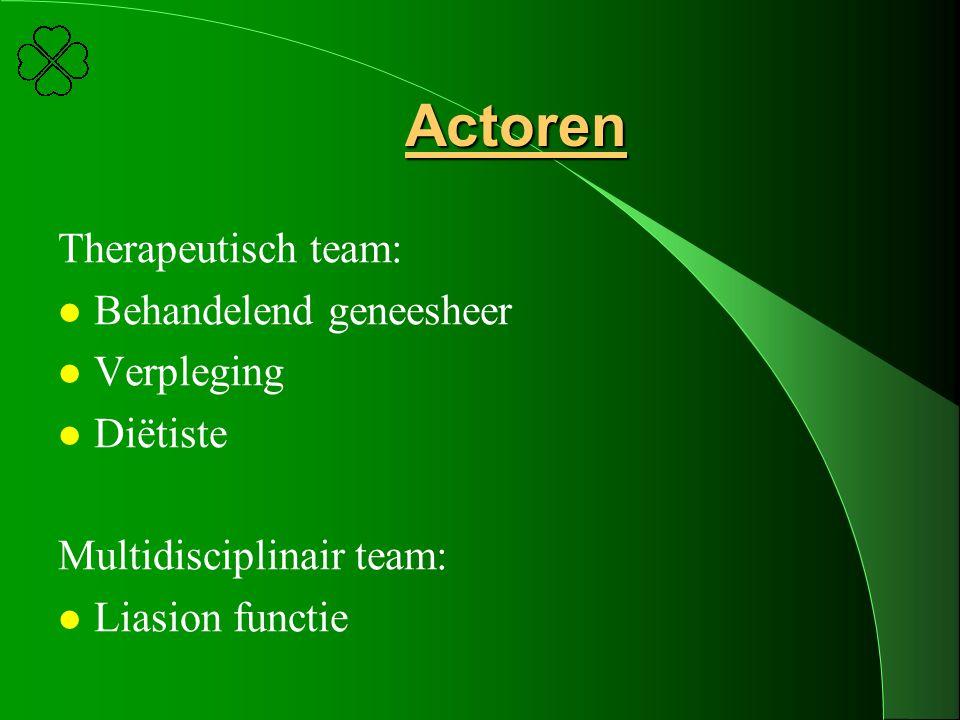 Actoren Therapeutisch team: Behandelend geneesheer Verpleging Diëtiste