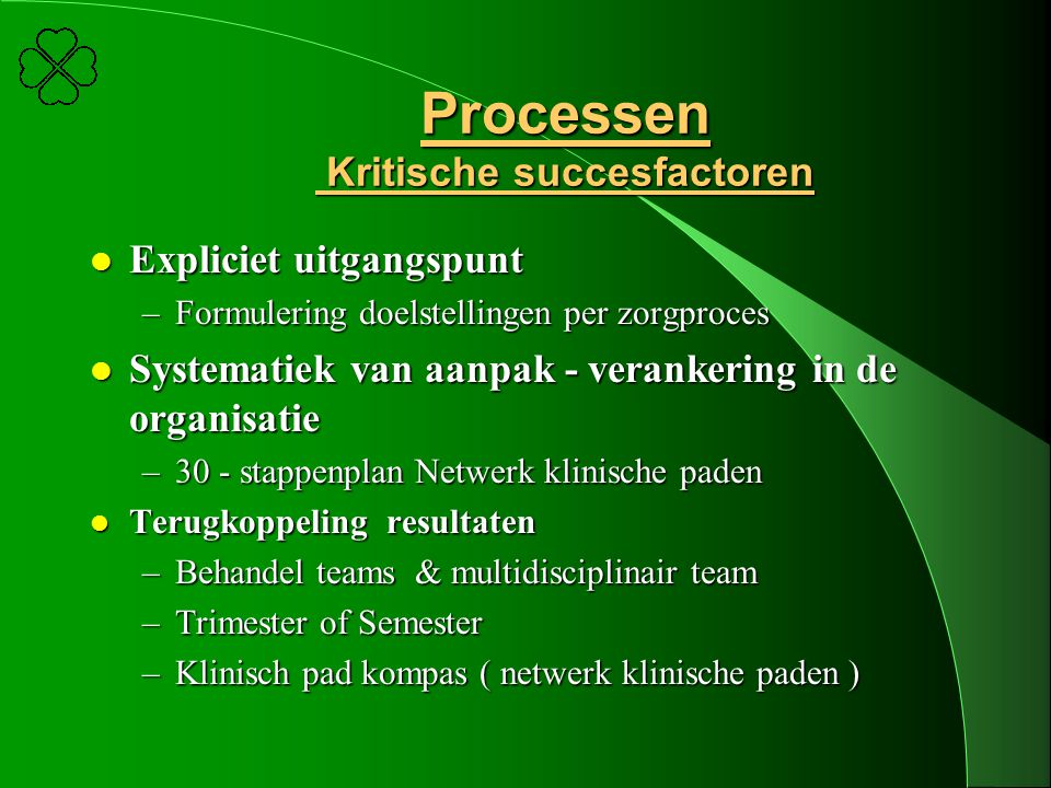 Processen Kritische succesfactoren