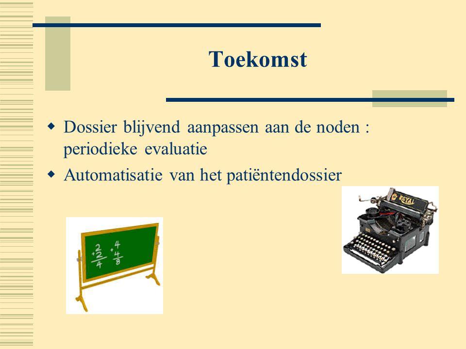 Toekomst Dossier blijvend aanpassen aan de noden : periodieke evaluatie.