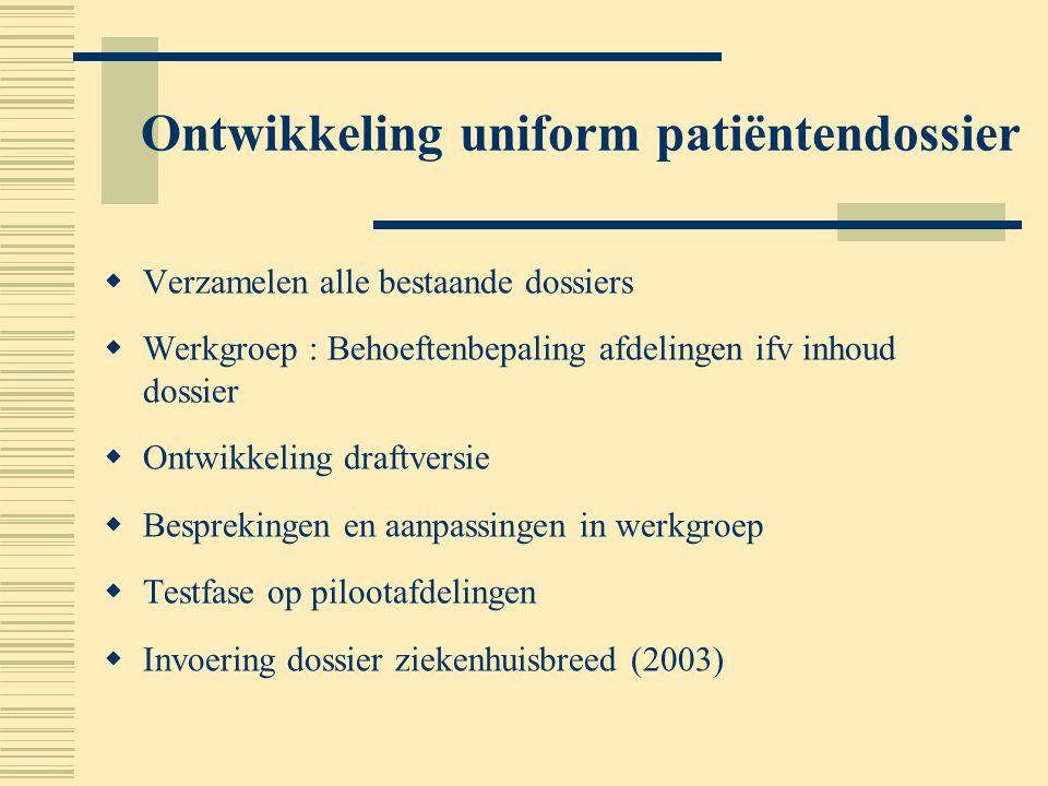 Ontwikkeling uniform patiëntendossier