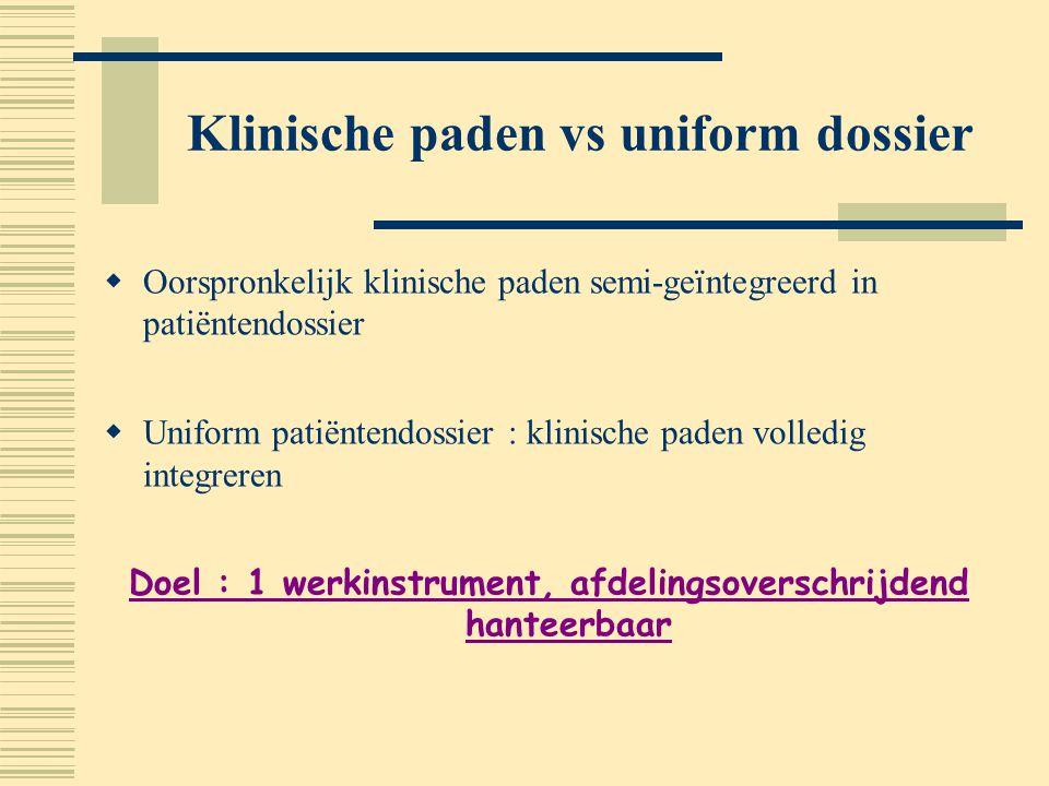 Klinische paden vs uniform dossier