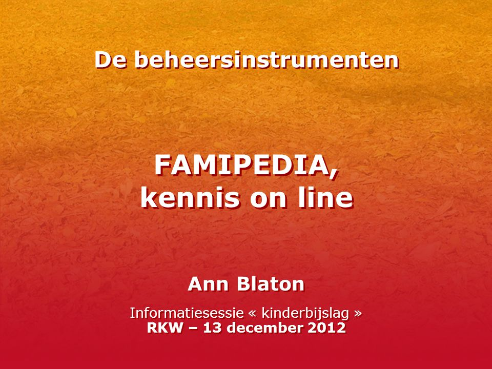 FAMIPEDIA, kennis on line