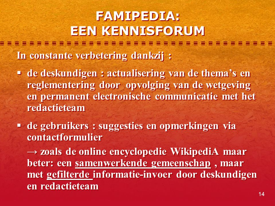 FAMIPEDIA: EEN KENNISFORUM