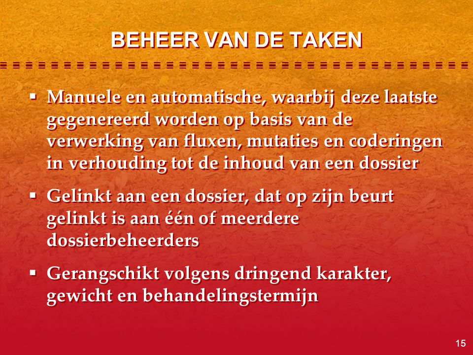 BEHEER VAN DE TAKEN