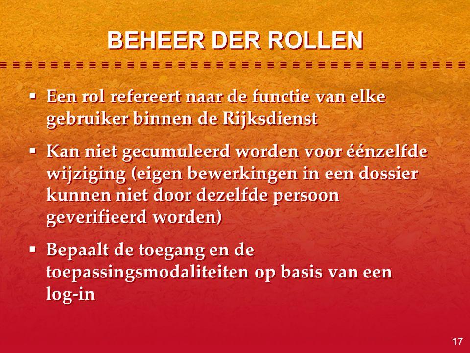 BEHEER DER ROLLEN Een rol refereert naar de functie van elke gebruiker binnen de Rijksdienst.