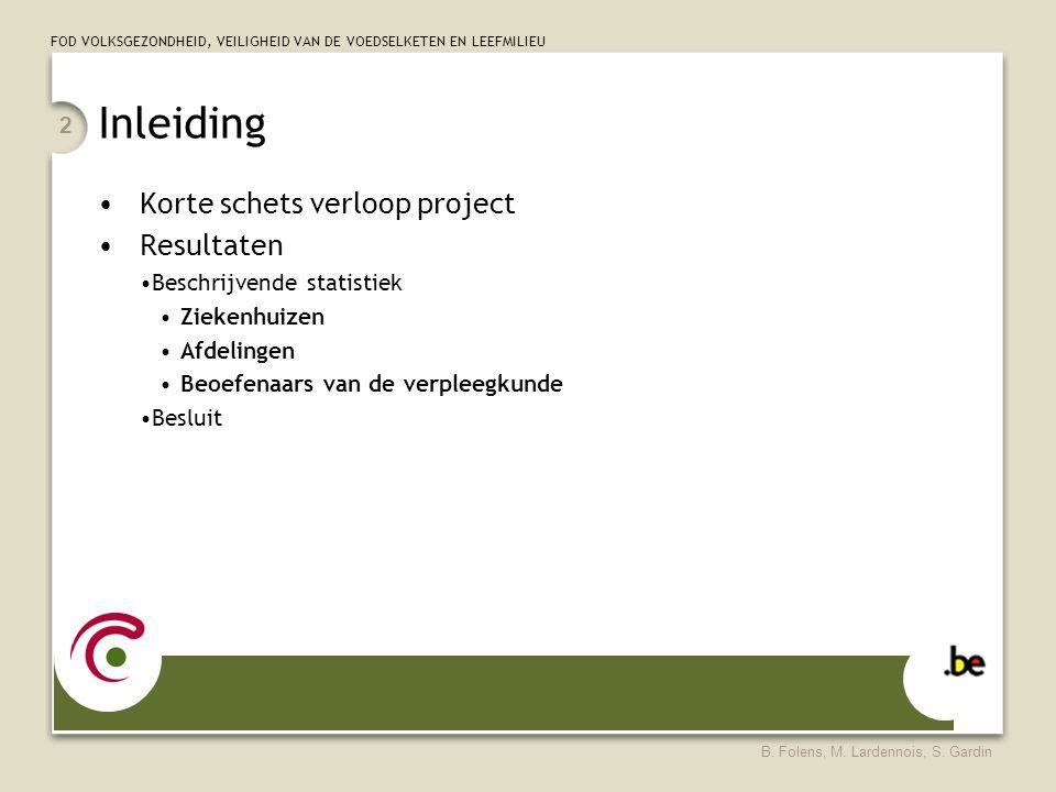 Inleiding Korte schets verloop project Resultaten