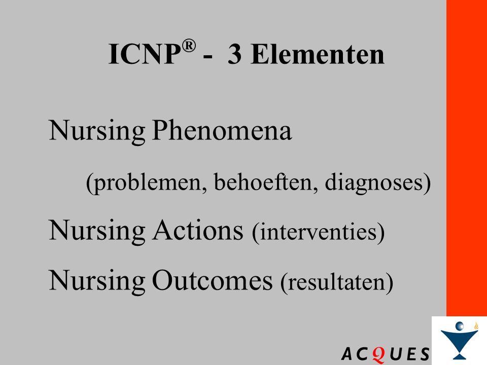ICNP® - 3 Elementen Nursing Phenomena. (problemen, behoeften, diagnoses) Nursing Actions (interventies)
