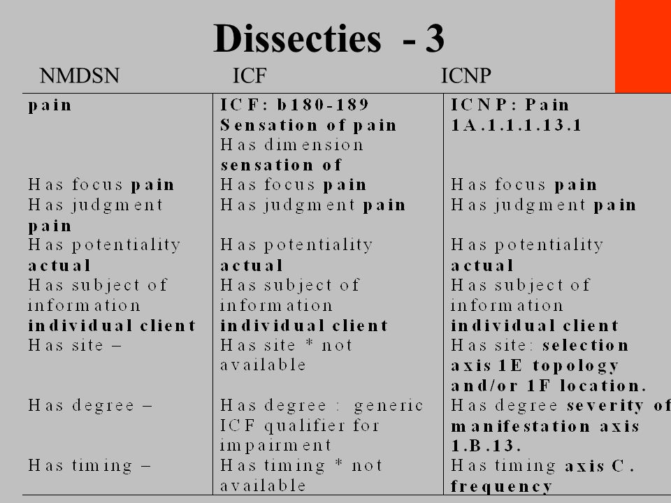 Dissecties - 3 NMDSN ICF ICNP