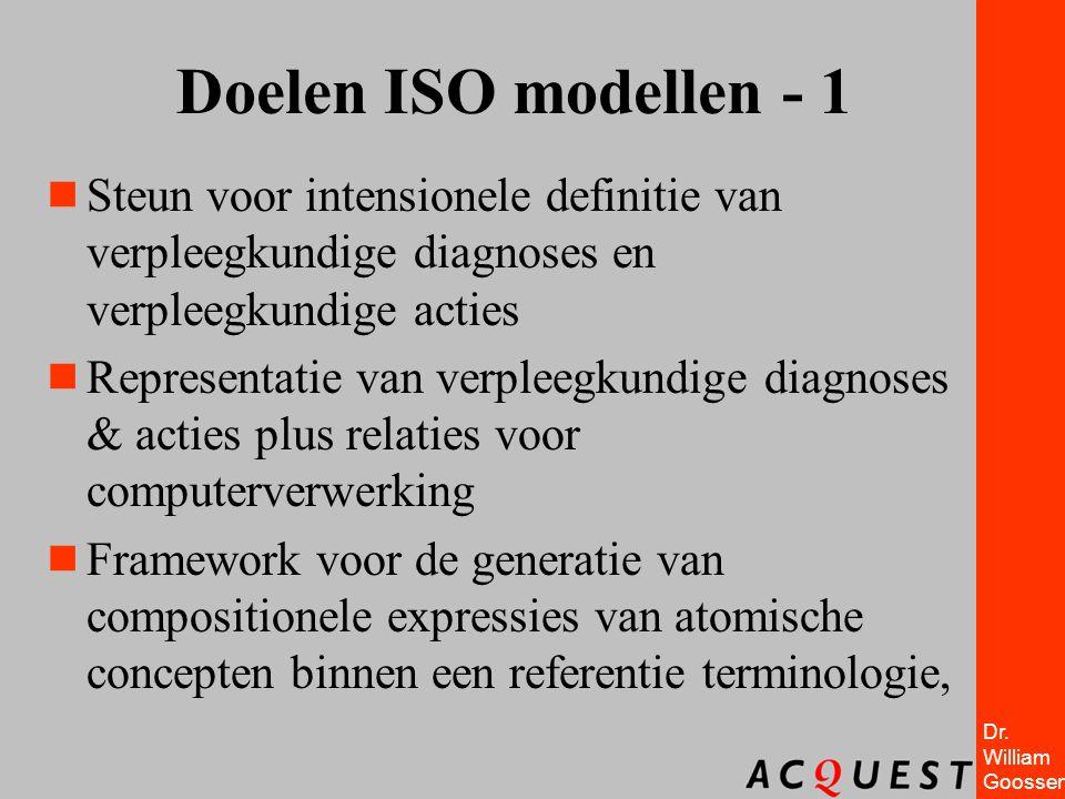 Doelen ISO modellen - 1 Steun voor intensionele definitie van verpleegkundige diagnoses en verpleegkundige acties.