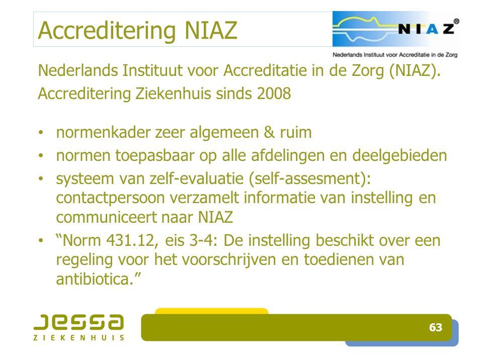 Accreditering NIAZ Nederlands Instituut voor Accreditatie in de Zorg (NIAZ). Accreditering Ziekenhuis sinds 2008.