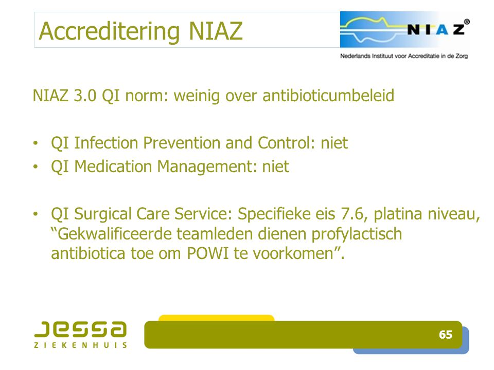 Accreditering NIAZ NIAZ 3.0 QI norm: weinig over antibioticumbeleid