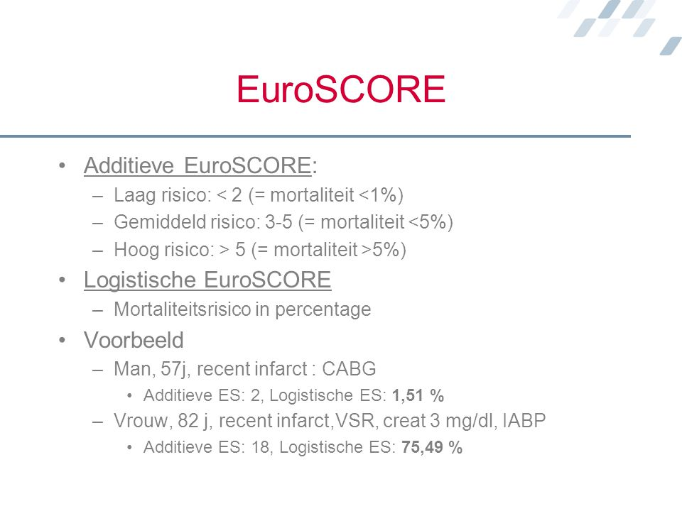 EuroSCORE Additieve EuroSCORE: Logistische EuroSCORE Voorbeeld