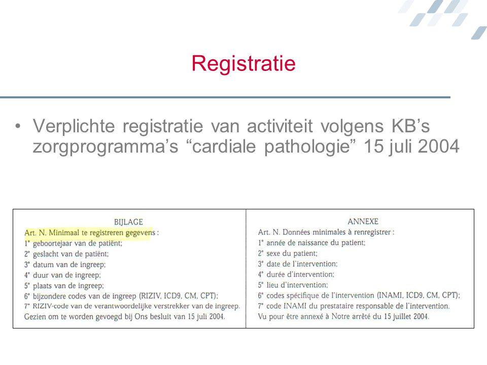Registratie Verplichte registratie van activiteit volgens KB's zorgprogramma's cardiale pathologie 15 juli 2004.
