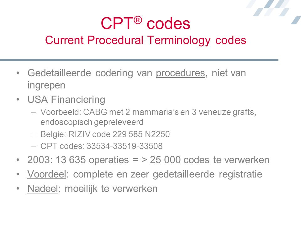 CPT® codes Current Procedural Terminology codes