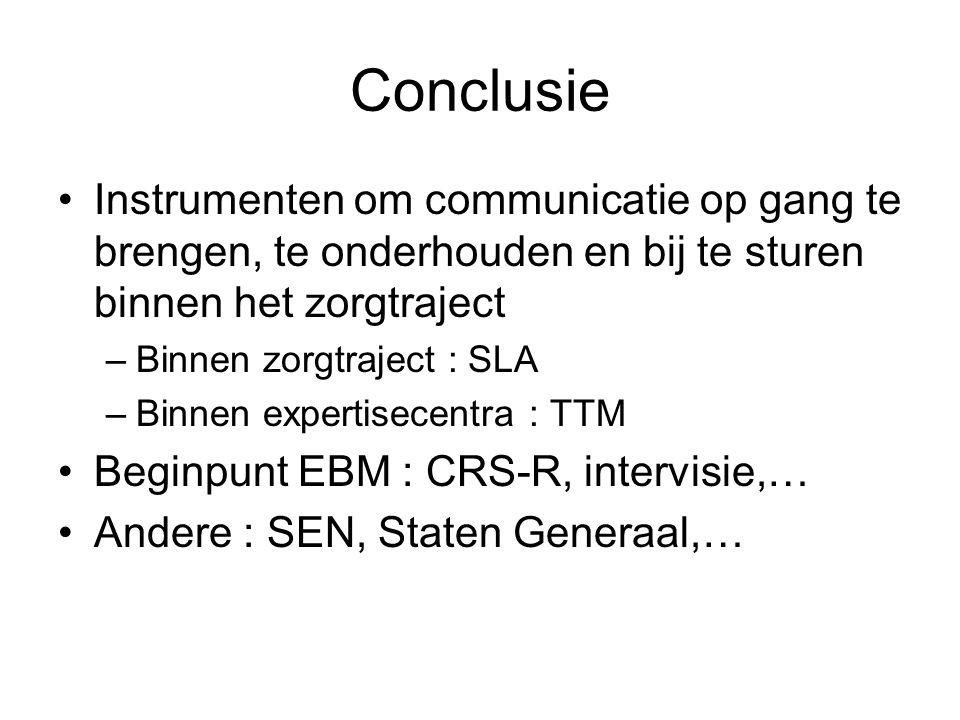 Conclusie Instrumenten om communicatie op gang te brengen, te onderhouden en bij te sturen binnen het zorgtraject.