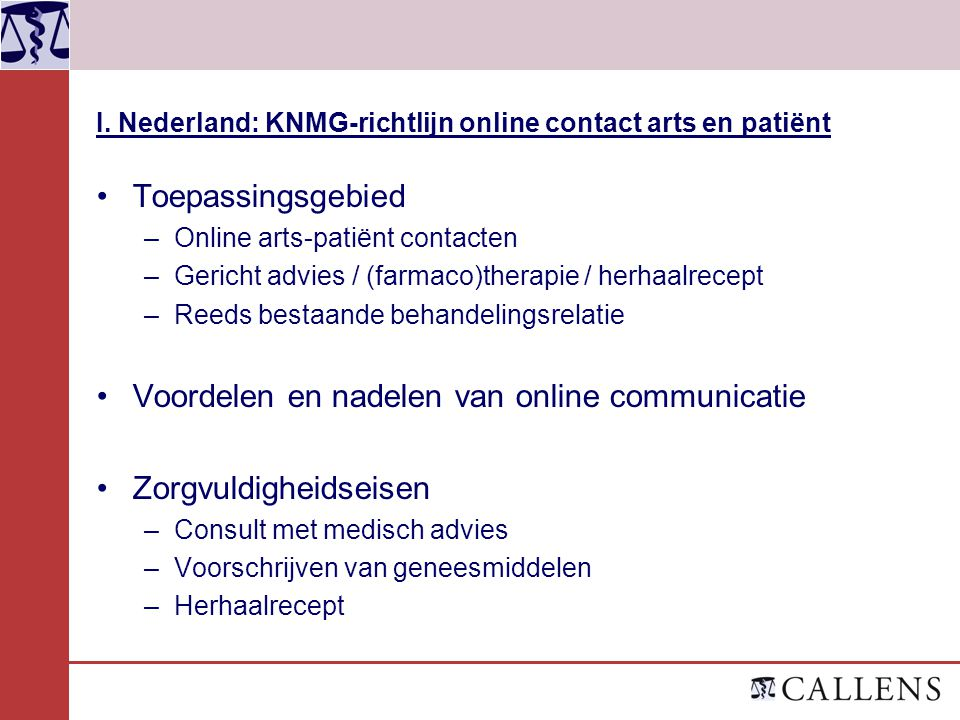 I. Nederland: KNMG-richtlijn online contact arts en patiënt