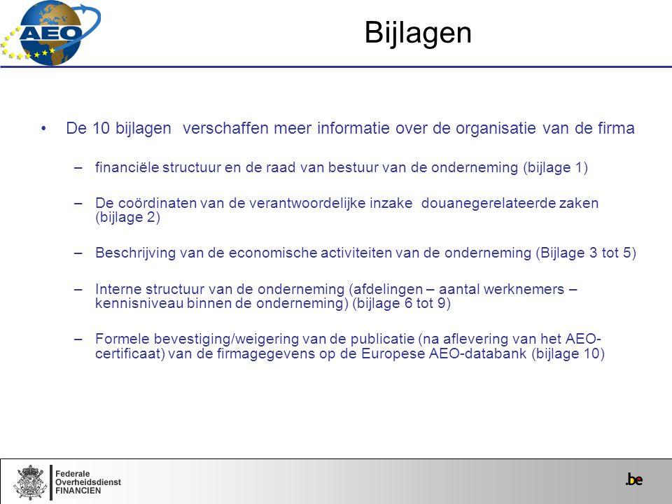 Bijlagen De 10 bijlagen verschaffen meer informatie over de organisatie van de firma.