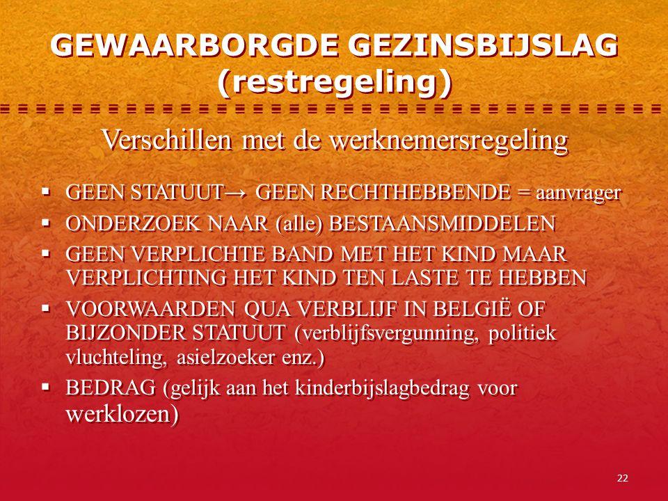 GEWAARBORGDE GEZINSBIJSLAG (restregeling)