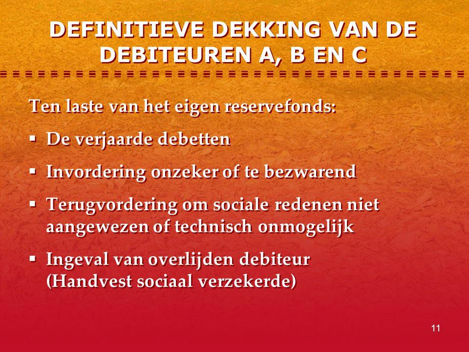 DEFINITIEVE DEKKING VAN DE DEBITEUREN A, B EN C