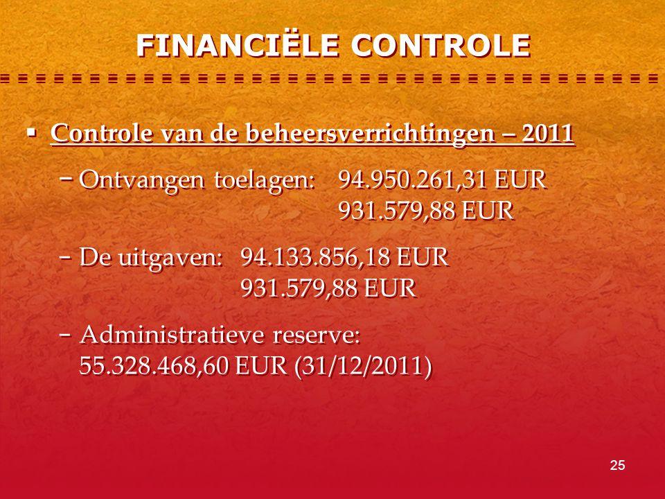 FINANCIËLE CONTROLE Controle van de beheersverrichtingen – 2011