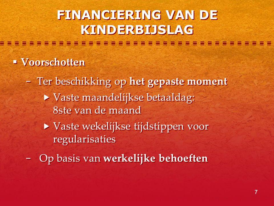 FINANCIERING VAN DE KINDERBIJSLAG