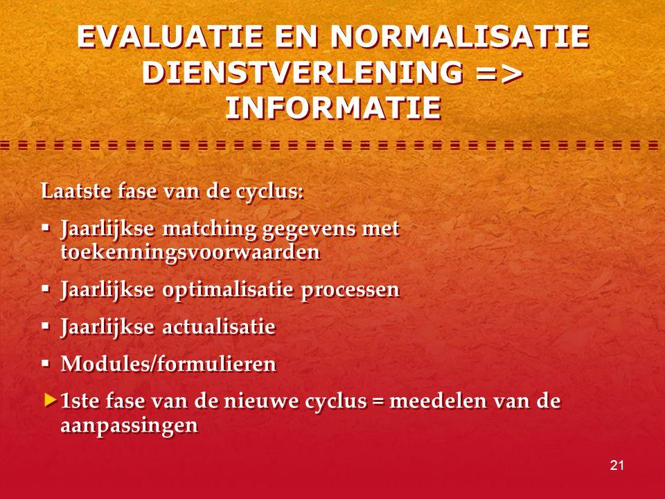 EVALUATIE EN NORMALISATIE DIENSTVERLENING => INFORMATIE