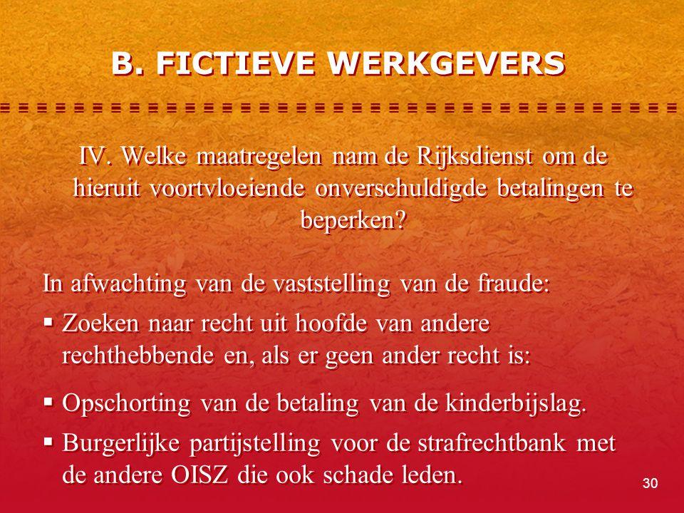 B. FICTIEVE WERKGEVERS IV. Welke maatregelen nam de Rijksdienst om de hieruit voortvloeiende onverschuldigde betalingen te beperken