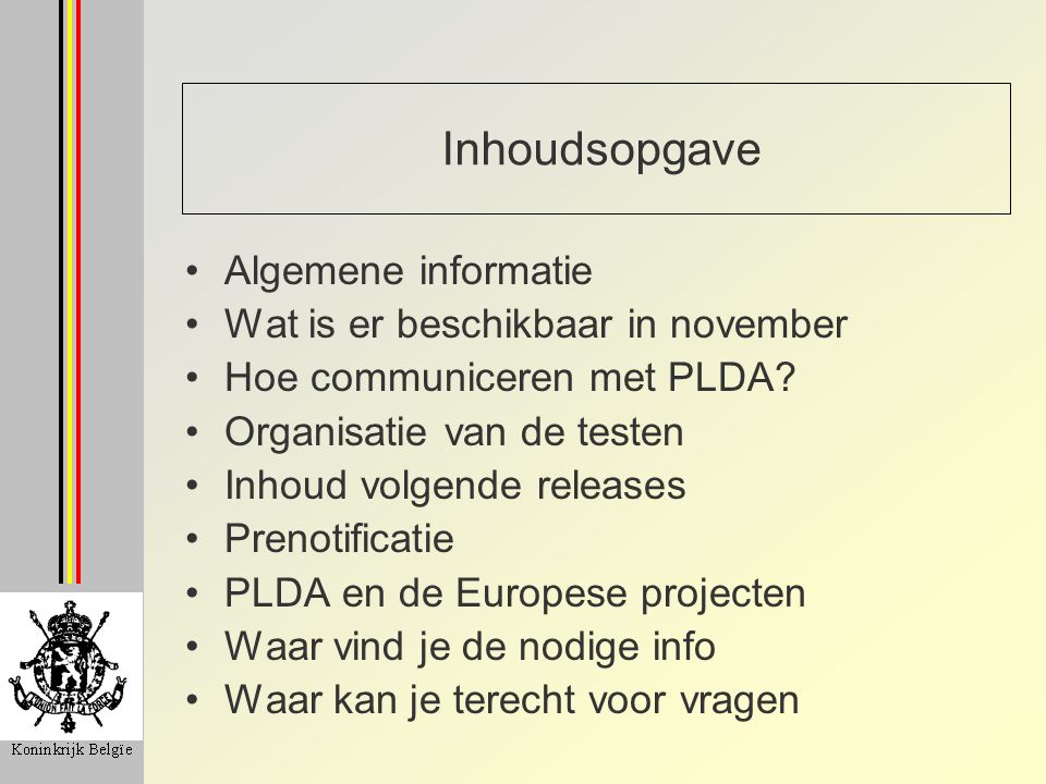 Inhoudsopgave Algemene informatie Wat is er beschikbaar in november